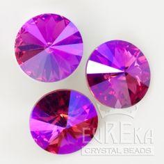 1122 14mm Rivoli FUCHSIA GLACIER BLUE | Eureka Crystal Beads Radiant Orchid Jewelry Beading Swarovski Crystal Pendants DIY Jewelry Making Supplies Components