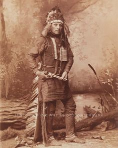 Oglala Sioux Chief Red Shirt poses for a full-length studio portrait while touring with Buffalo Bill's Wild West Show. Photograph taken between 1885 and Native American Photos, Native American History, Native American Indians, American Art, Sioux Nation, Native Indian, Before Us, Red Shirt, First Nations