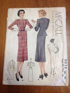 McCall 9035 Jr. Miss Dress Sz16 B34 W28 H37 c/c/good 1936 16+2.32 11bds 8/24/14
