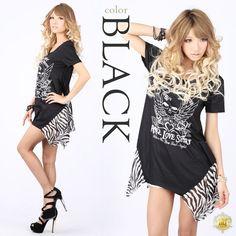 Skirt zebra skull print tunic dress [☆ ☆ sexy casual ☆ Gal ☆ small devil ☆ gal clothes ☆ 109 system ☆ summer ☆ gal ☆ ONP_MINI ☆ Yumachi]