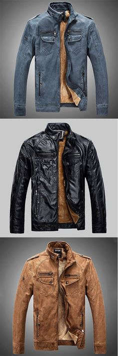 Men's Casual/Daily Vintage Fall Winter Leather Jacket