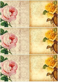 Freebie - Vintage Style Flower Cards by hilary