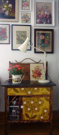 vintage framed floral paintings