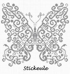 Free beautiful butterfly cross stitch pattern.