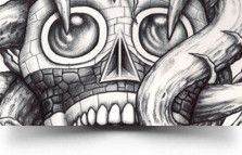 I love this designs Tezcatlipoca Mask Tattoo