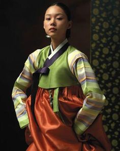 Fusion Hanbok with multicolored Striped Sleeve