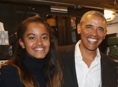 Malia Obama and father Barack Obama, 44th President of The United States, pose for a photo together as they spend the night going out to dinner followed by a Broadway show on Feb. 24, 2017.