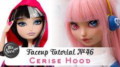 Faceup Tutorial №46 Cerise Hood OOAK Ever After High Custom doll repaint...
