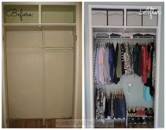 Before and After of a simple and organized closet transformation   OrganizingMadeFun.com