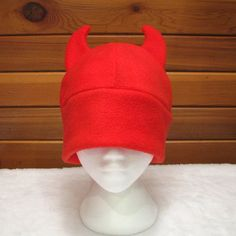 Red Devil Hat - Red Fleece Devil Horn Beanie by Ningen Headwear