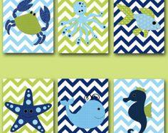 blue green fish nursery theme