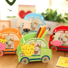 Cute Cartoon Animal Pen Holder Desktop Pencil Stand Sundry Storage Box For Kids Office Supplies