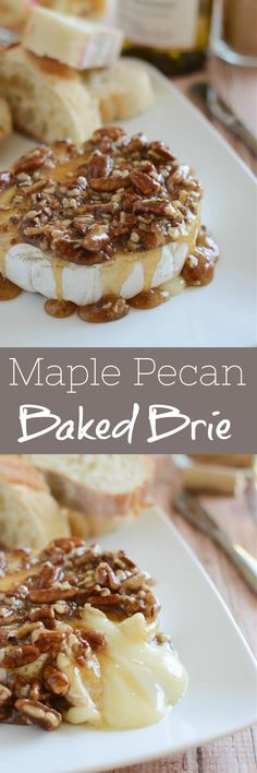 Maple Pecan Baked Brie - delicious melty brie topped with a maple, brown sugar, and pecan mixture. Serve with apple slices and graham crackers! Perfect holiday appetizer! Easy Appetizer Recipes, Yummy Appetizers, Snack Recipes, Yummy Recipes, Cheese Recipes, Fall Recipes, Cheesecake Oreo, Cheesecake Recipes, Easy Gluten Free Desserts