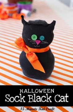 Black-Sock-Cat-Tutorial. My sons (6 & 9) and I did this craft together and it was soooo adorable!  It was their first time sewing & they can't wait to make more!  We are gonna do this for Christmas kitties in assorted Christmas-color stray socks!