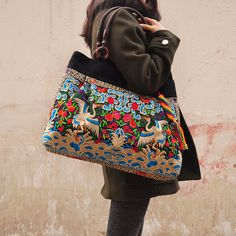 6d8e77c0db87 Hand Made bag  Embroidery Tote Bag Casual bags Fashion bag Travel  package Shop tote bag Women bag Embroidered Tote Bag  single shoulder bag
