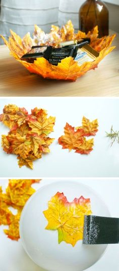 DIY Autumn Leaf Bowls | Click Pic for 20 Dollar Store Crafts for Home Decor…