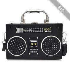 Radio Shaped Faux Leather Crossbody Bag