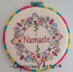 Namaste Mandala Hand Embroidered Hoop Art