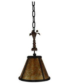 Custom Iron Pendant Light with Mica Shade from  www.haciendalights.com