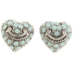 Juicy Couture Pave Heart Studs ($48) ❤ liked on Polyvore featuring jewelry, earrings, accessories, fillers, juicy couture, women, homewomen's, sparkly earrings, juicy couture jewelry and long sparkly earrings