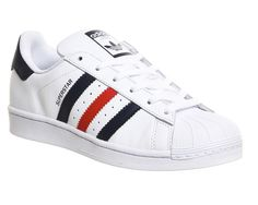 Buy White Collegiate Navy Red Adidas Superstar 1 from OFFICE.co.uk.