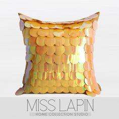 现代简约/样板房家居软装设计师靠包抱枕/黄色立体手工珠片方枕-淘宝网