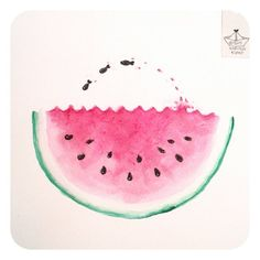"kapiteinkunst @ Instagram: ""Watermelon fish ツ #365doodleswithjohannafritz  ___________________________________ #doodling #doodle #drawdaily #tekening #fish #splash #watermelon #watercolor #melon #illustration #illustratorsoninstagram  #illustrator #watercolour"" #childrensbooks"