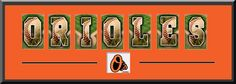 Baltimore Orioles Alphabet Letters Art With Team Logo - Team Artistic Letters Come With Team Matting