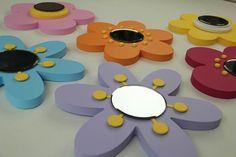 Set de 3 espejos de flor de madera 3D, decoración de arte de pared de flores a…