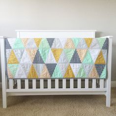 "Triangle Quilt. ""The Sammy"" Modern Baby Quilt. Mint, Mustard & Grey Colorful Quilt. Unisex Nursery Decor. Quilted Baby Blanket, Bedding. by 2ndStitchtotheRight on Etsy https://www.etsy.com/listing/235445425/triangle-quilt-the-sammy-modern-baby"