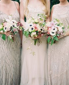 Gorgeous bouquets and beaded dresses.