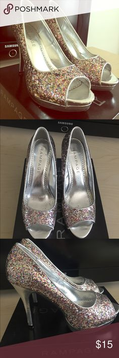 """Multicolored glitter heels Similar to the heels Christina Aguilera wears on the movie """"Burlesque,"""" these shoes will add some much needed sparkle to any outfit! Several spots are missing glitter, but that doesn't take away from the effect! Rampage Shoes Heels"""