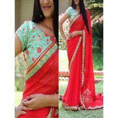 Monopolizing Red Georgette Designer Saree