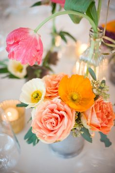 vibrant centerpiece // photo by Kaysha Weiner // floral design by Blue Magnolia Events