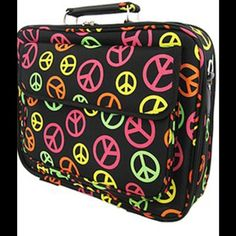 """17"""" Peace Sign Laptop Case Briefcase Computer Bag Size : 17.5w x 12.5h x 4d in.   Material : Canvas   * Zipper Closure  * Lots of Pockets  * Velcro Closure Pocket on Front  * Zipper Pocket on Rear  * Detachable Shoulder Strap Included  * Silver Hardware Accents  * For 17 inch or Smaller Laptop or Tablet  Color : Multi Scarlettsbags Bags Laptop Bags"""
