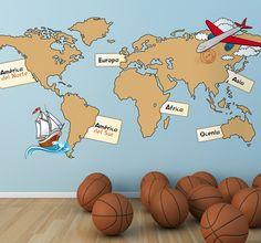 Vinilo infantil mapa mundi continentes