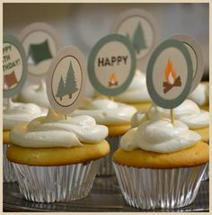 camping birthday party cupcakes
