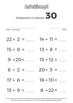 [Matematyka, Zadania] Dodawanie w zakresie 30 Printables, Math Equations, This Or That Questions, Therapy, School, Print Templates