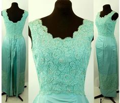 1960s gown taffeta gown beaded gown alencon lace robins egg blue Size M