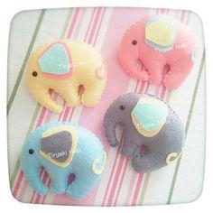 ♥ Tiryaki Hobi ♥: Keçe bebek şekeri / doğumgünü magneti - FİL  --------   felt elephants