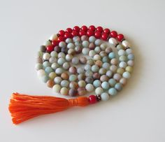 Frosted Amazonite Mala Necklace  Amazonite and Red by BBTresors