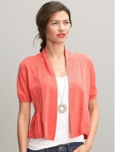 $44.50 Jersey Ruffle Hem Cardigan, Coral. Love the color, love the length, love the short sleeves. :)