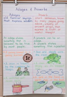 Anchor Charts with FREE teaching materials for Adages and Proverbs Teaching Literature, Teaching Writing, Student Teaching, Teaching English, Teaching Posters, Creative Teaching, Teaching Kids, Ela Anchor Charts, Reading Anchor Charts