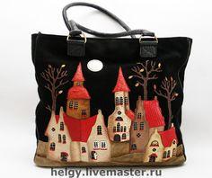 Купить сумка с домиками - сумка, авторская сумка, Аппликация, сумка с аппликацией, Кожаная сумка, домики