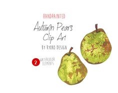 Pear Clipart Autumn clipart Autumn Pear Autumn by RyokoDesign  a beautiful set of hand painted watercolor Chameleon cliparts. Perfect for wedding invitations, baby and bridal shower invitations, any other invitation design, scrap booking, card making, children book, announcement cards, blogs, logos or photo overlays..etc.
