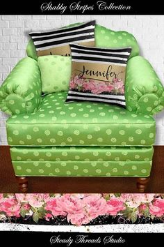 Personalized Pillow Cover. Shabby Country Chic, Painterly Cottage Throw Cushion. Decorative Chevron Accent for Floor, Bed, Sofa, Chair, Den, Dorm.  Sizes 16 to 36 inches square. Eco-friendly canvas. Custom printed fabric designed with art by SteadyThreadsStudio.com #monogrampillows #floralpillows