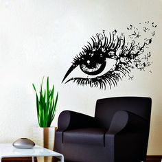 Wall Decals Hairdressing Hair Beauty Salon Decal Vinyl Sticker Woman Eye with Butterflies Home Decor Makeup Studio Window Dorm Chu319