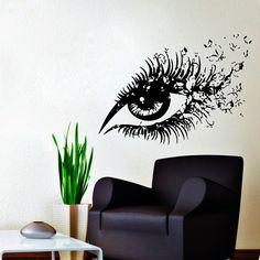 Wall Decals Hairdressing Hair Beauty Salon Decal Vinyl Sticker Woman Eye with Butterflies Home Decor Makeup Studio Window Dorm Chu319