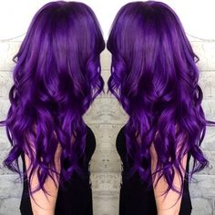 Beautiful Purple Hair Color and Long Textured Hair by Masey Cheveux Long Hair Balayage Hair Painting #hotonbeauty