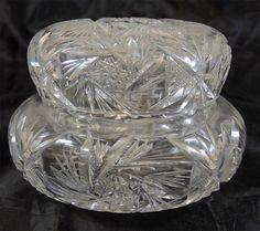 Beautiful Large Antique American Brilliant Period Cut Glass Powder Jar